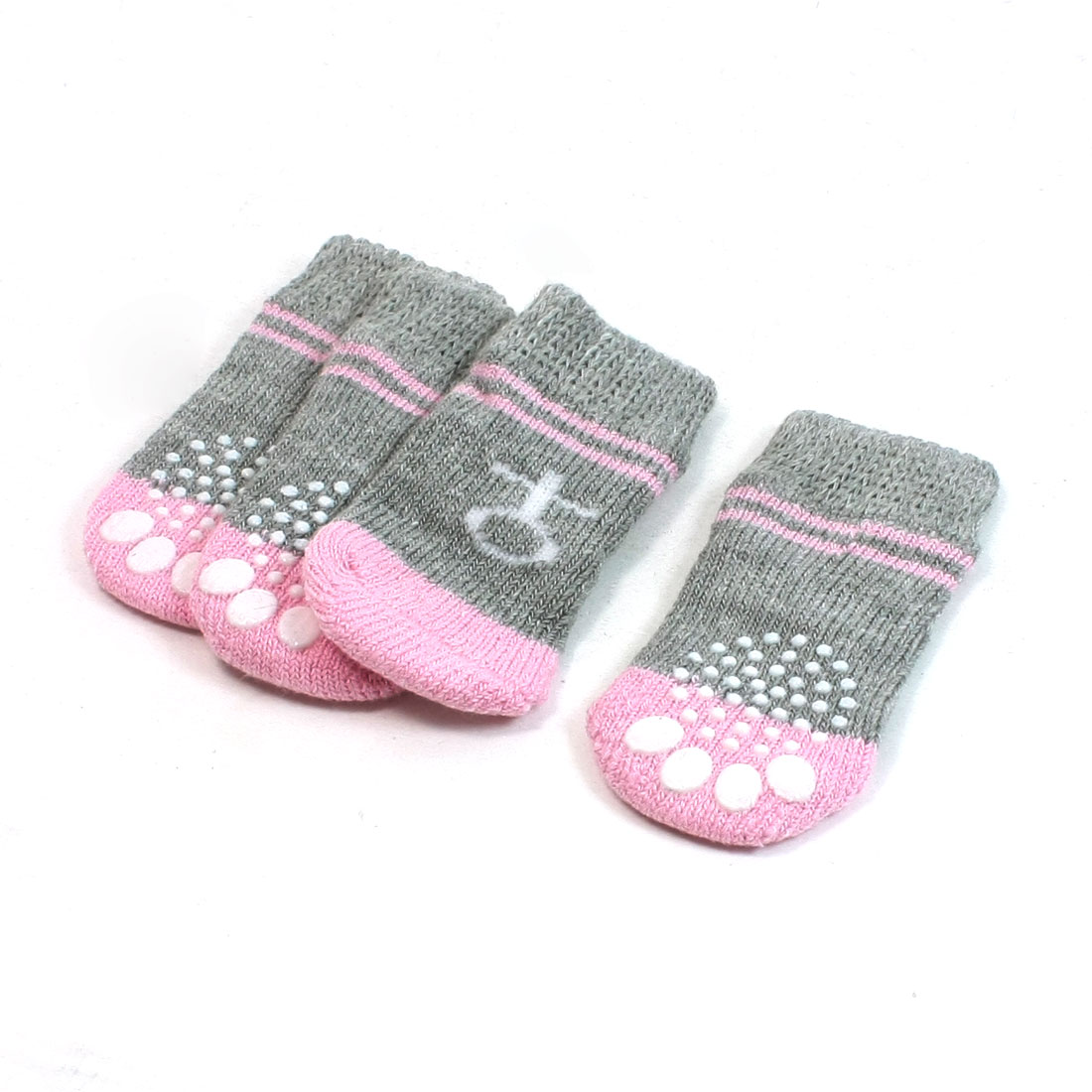 2 Pairs Paw Print Elastic Knitted Pet Dog Yorkie Socks Gray Pink Size M