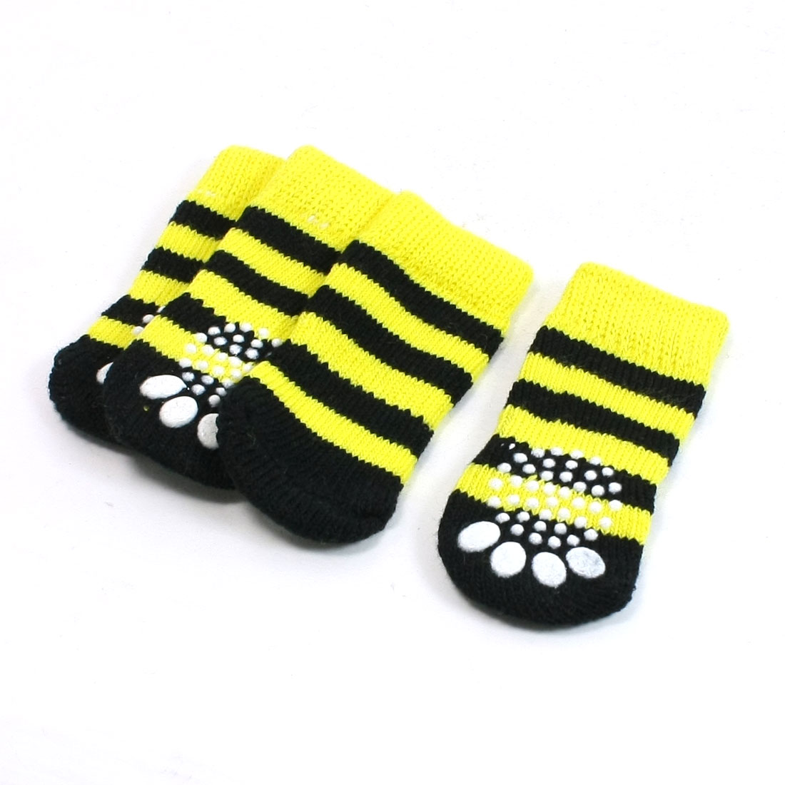 2 Pairs Yellow Black Stripe Printed Antislip Bottom Pet Dog Puppy Socks Size M