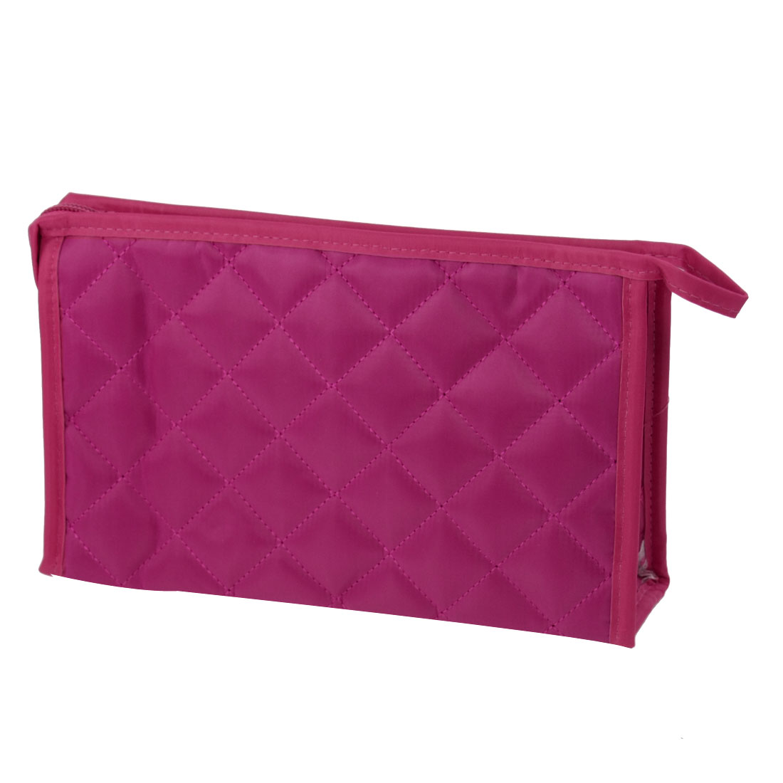 Lady Fuchsia Rhombus Printed Rectangle Shaped Perfume Brushes Pouch Makeup Bag