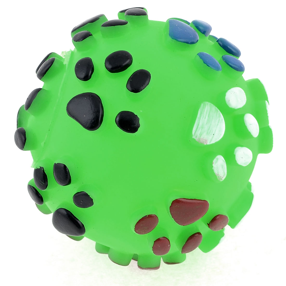Green Rubber Paw Pattern Round Ball Shape Squeaky Toy for Pet Dog Chihuaha