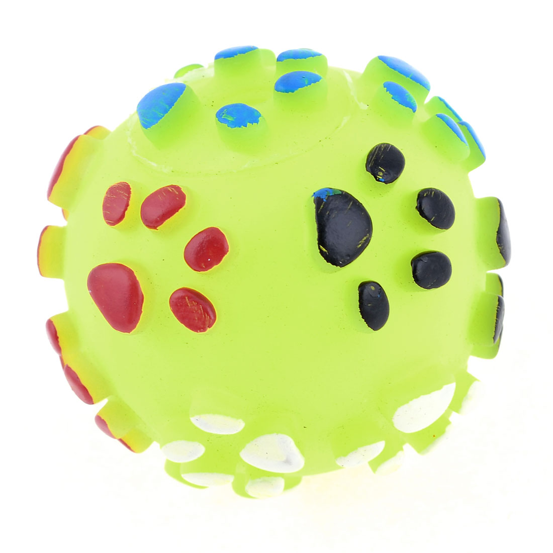 Textured Paw Design Yellow Rubber Round Ball Squeaky Toy for Pet Dog Poodle