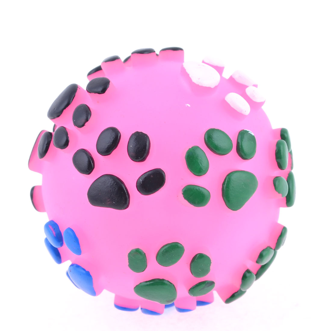 Textured Paw Design Fuchsia Rubber Round Ball Squeaky Toy for Pet Dog Poodle