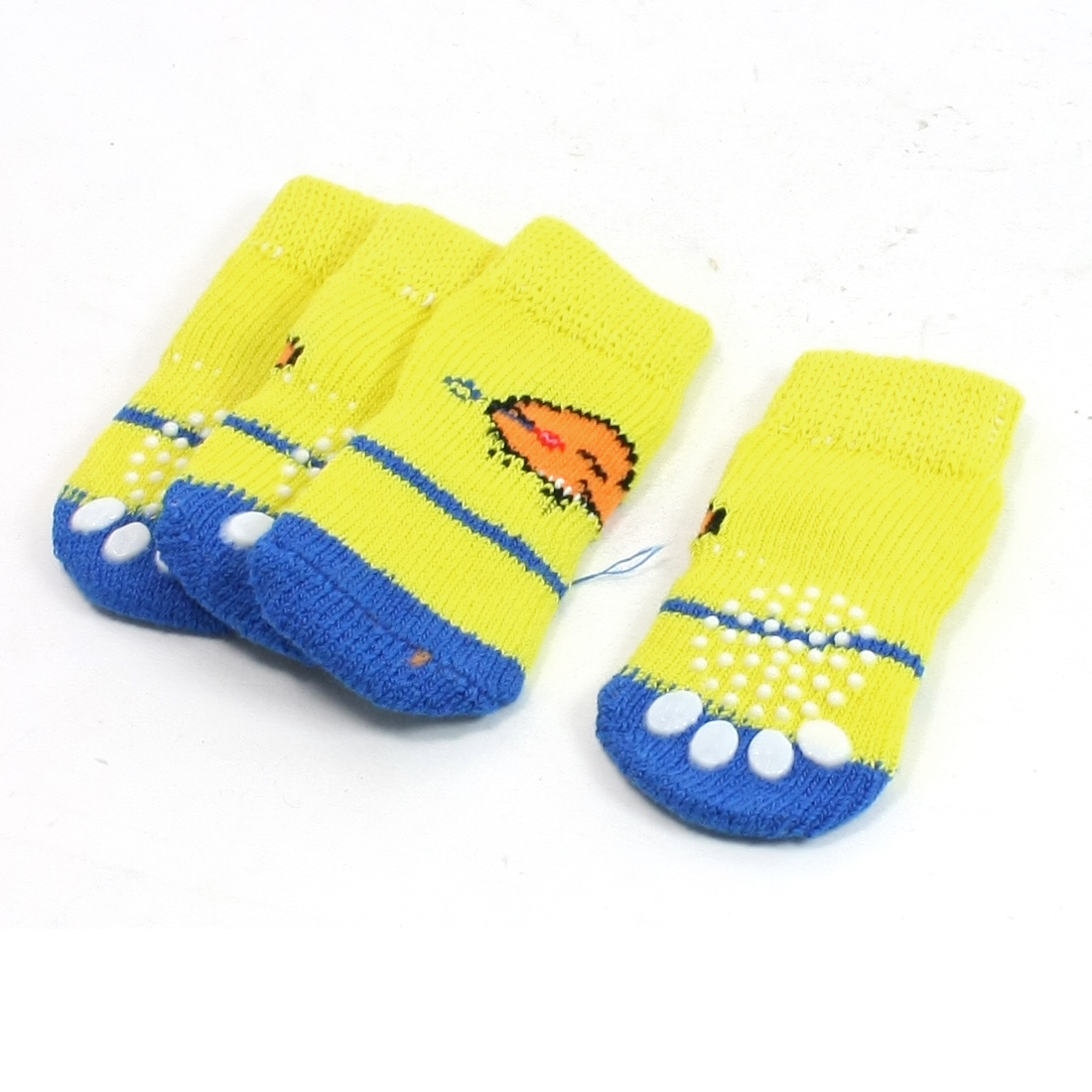 2 Pairs Paw Print Elastic Knitted Pet Dog Yorkie Socks Yellow Blue Size M