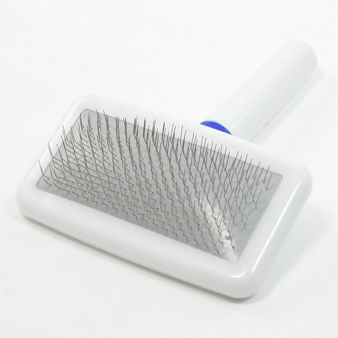 White Handle Dog Cat Pets Fur Grooming Comb Brush Shedding Tool