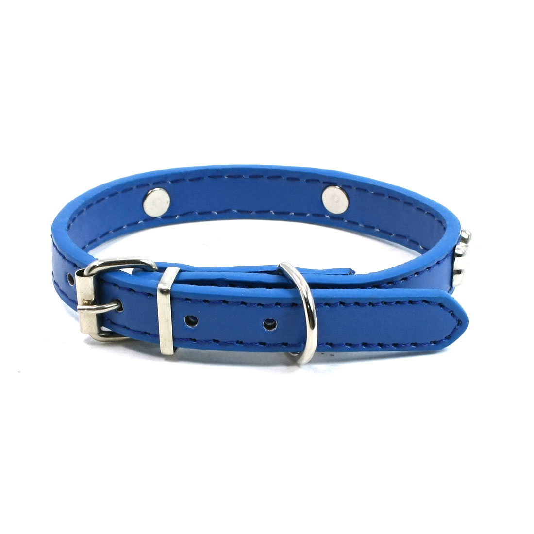 Metal Single Pin Buckle 1.5cm Wide Bone Detail Faux Leather Pet Dog Collar Blue