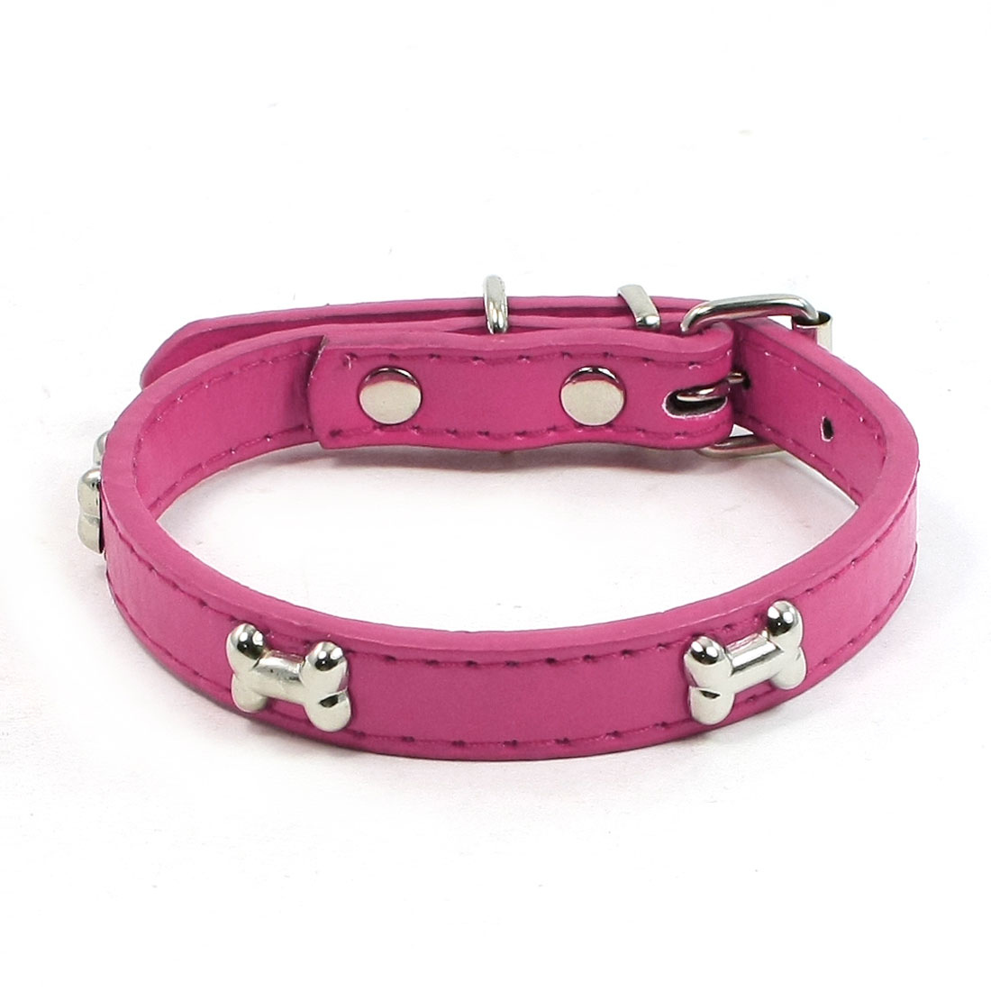 1.5cm Width Fuchsia One Pin Adjustable Faux Leather Bone Accent Pet Neck Collar