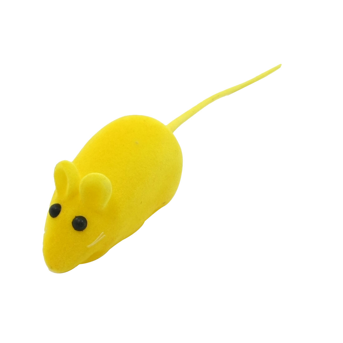 Yellow Mouse Shape Black Eyes Squeaky Chew Toy for Pet Dog