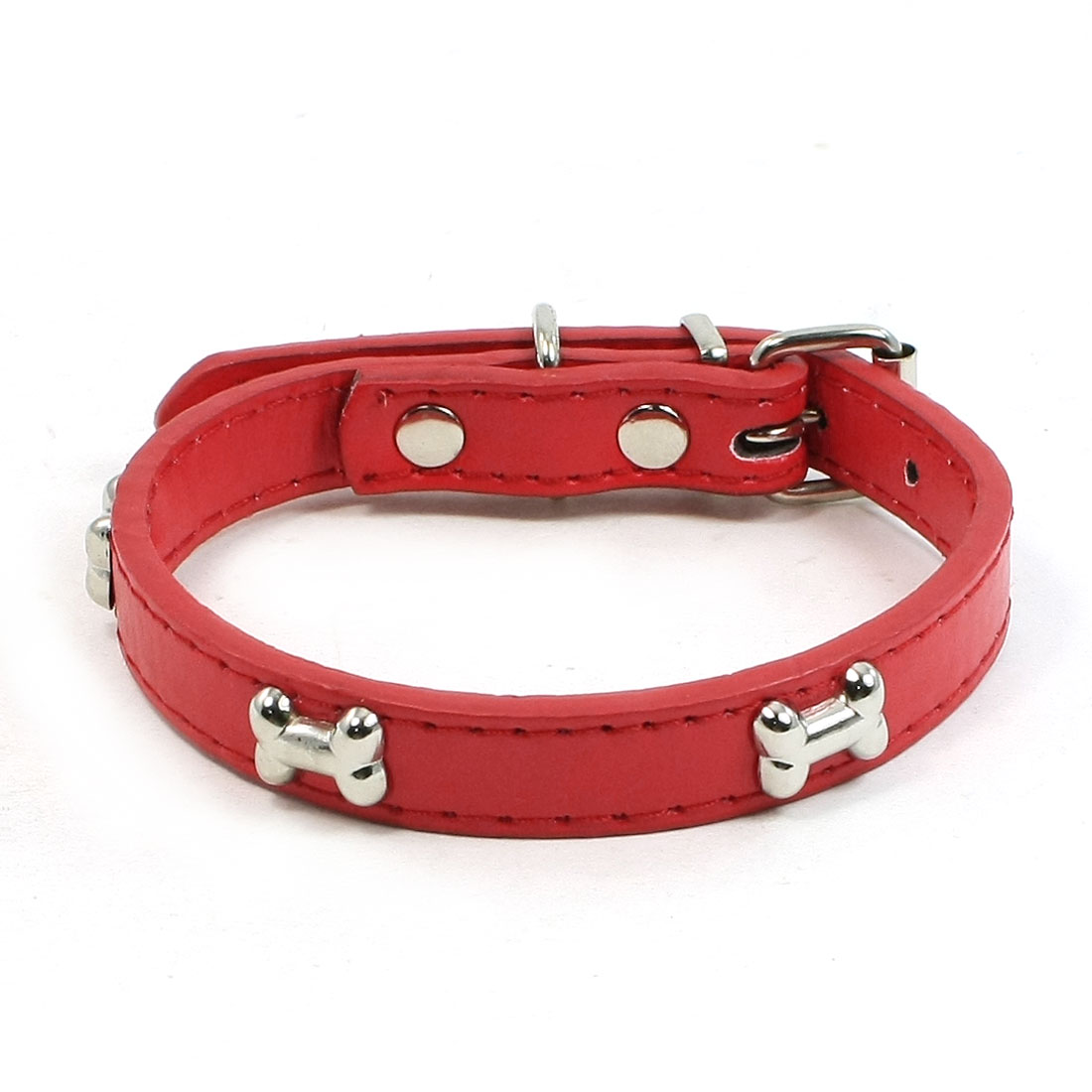 Metal Single Pin Buckle 1.5cm Wide Bone Detail Faux Leather Pet Dog Collar Red