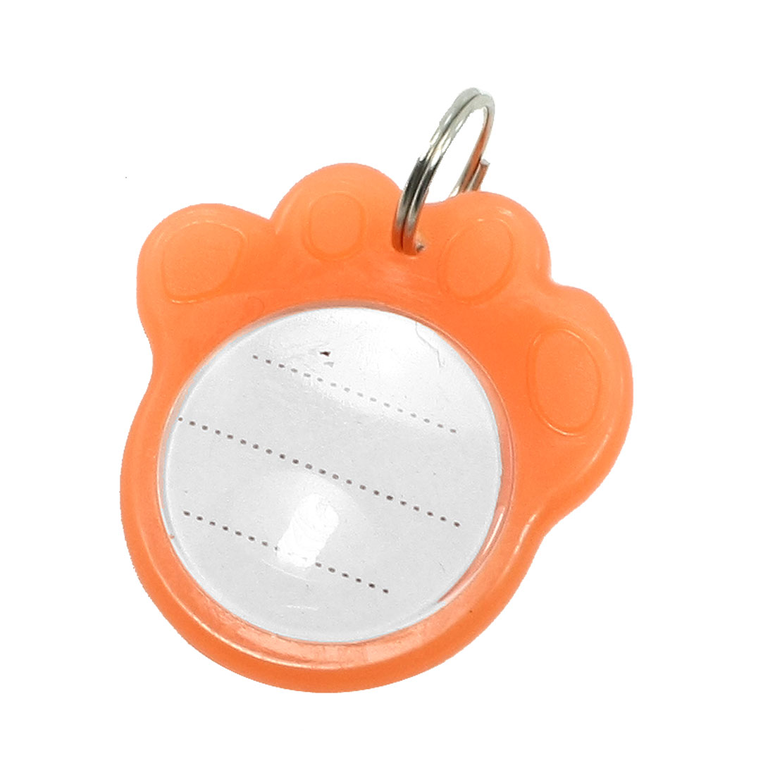 Metal Foot Pet Night Light Tag Cat Dog Personalised Collar Badge Keyring Pendant Orange