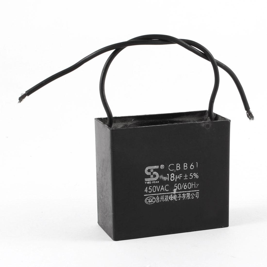 Black Wire Ceiling Fan Motor Running Capacitor CBB61 450VAC 18uF 50/60Hz