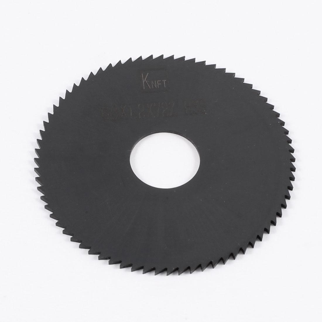 60mm x 1.2mm x 16mm Milling Cutter HSS 72T Slitting Saw Blade Black