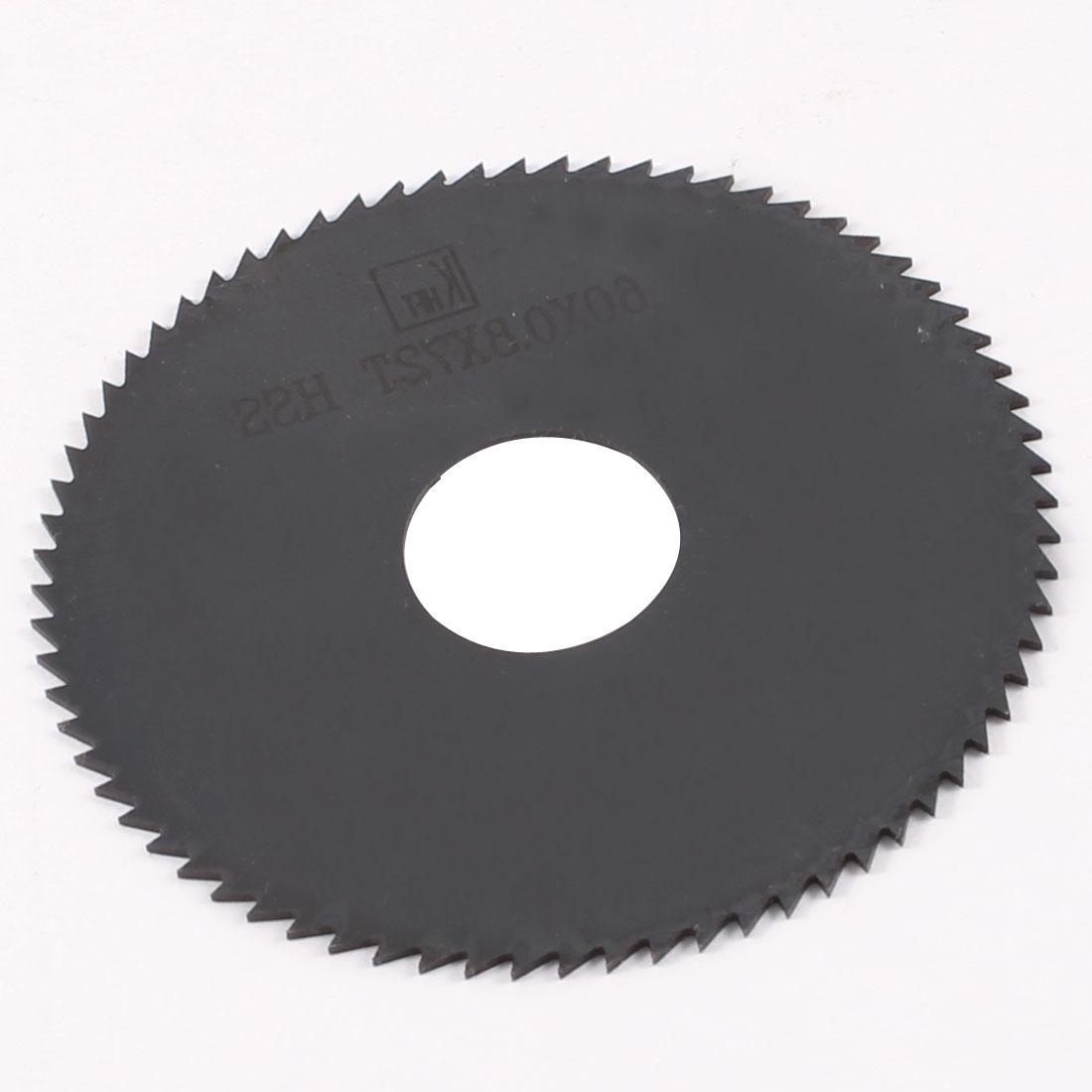 60mm x 0.8mm x 16mm Milling Cutter HSS 72T Slitting Saw Black