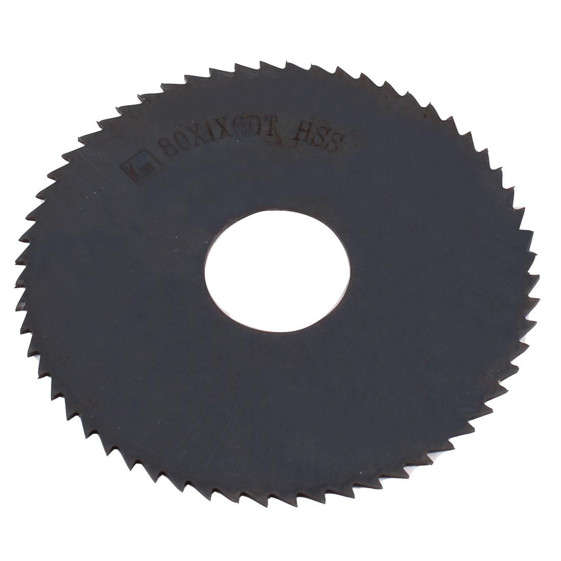 80mm x 1.0mm x 22mm Milling Cutter HSS 60T Slitting Saw Black