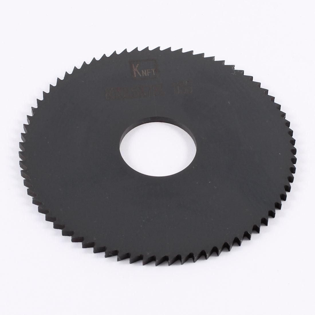 80mm x 2.5mm x 22mm Milling Cutter HSS 72T Slitting Saw Black