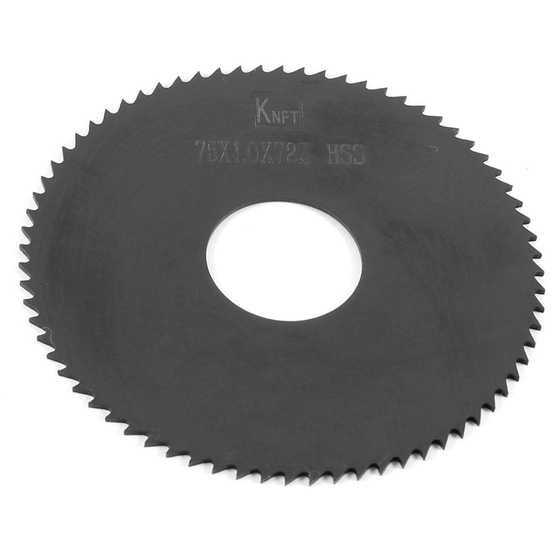 Black HSS 72 Teeth 75mm x 1.0mm x 22mm Slitting Saw Blade Repair Parts