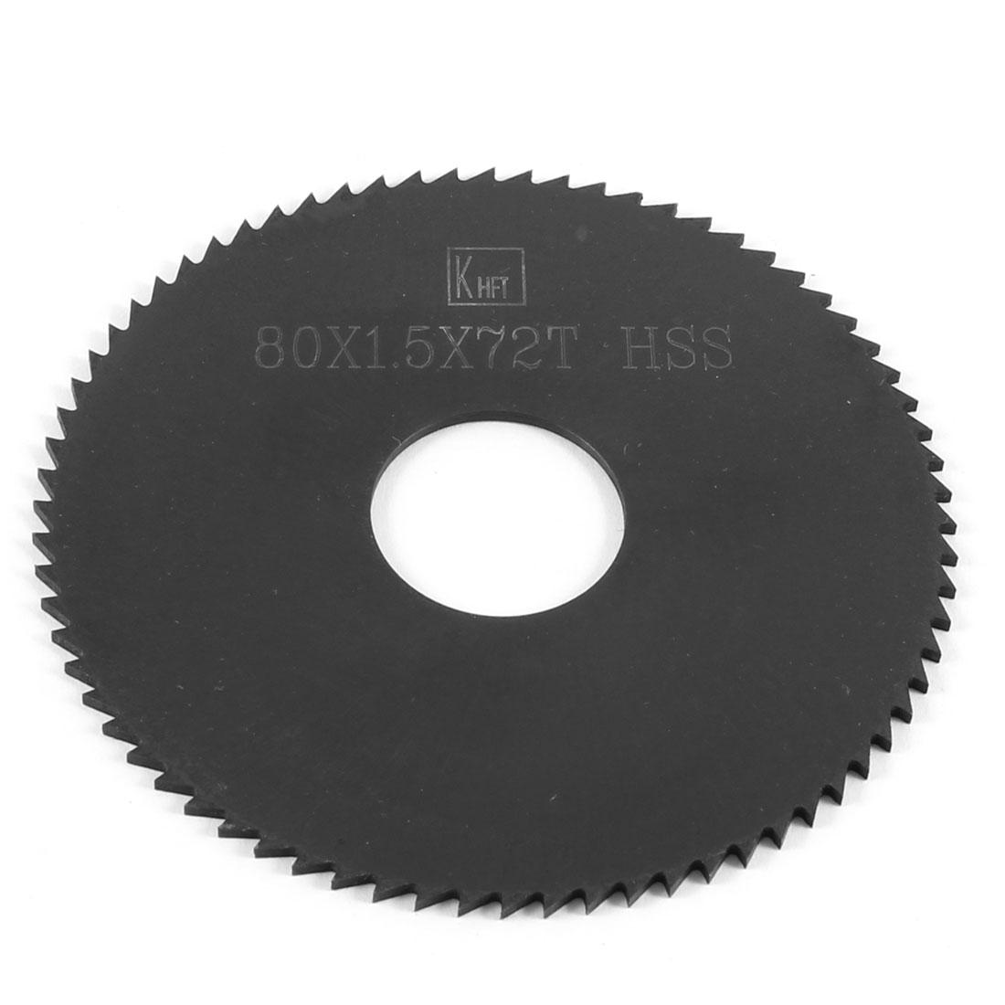 80mm x 1.5mm x 22mm Milling Cutter HSS 72T Slitting Saw Blade Black