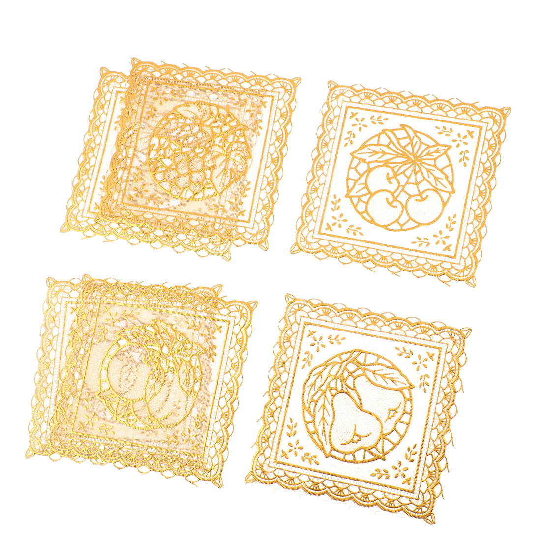 Gold Tone Square Hollow Out Fruit Pattern Desk Placemat Cup Mat Pad 6 Pcs