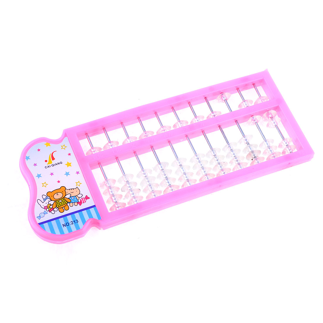 55 Beaded 11 Rods Plastic Frame Arithmetic Abacus Soroban Pink