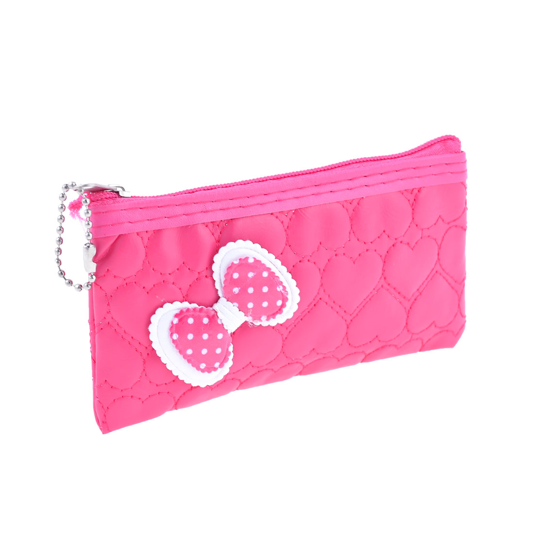 Hot Pink Bowknot Decor Zipper Closure Change Coins Purse Pouch for Women