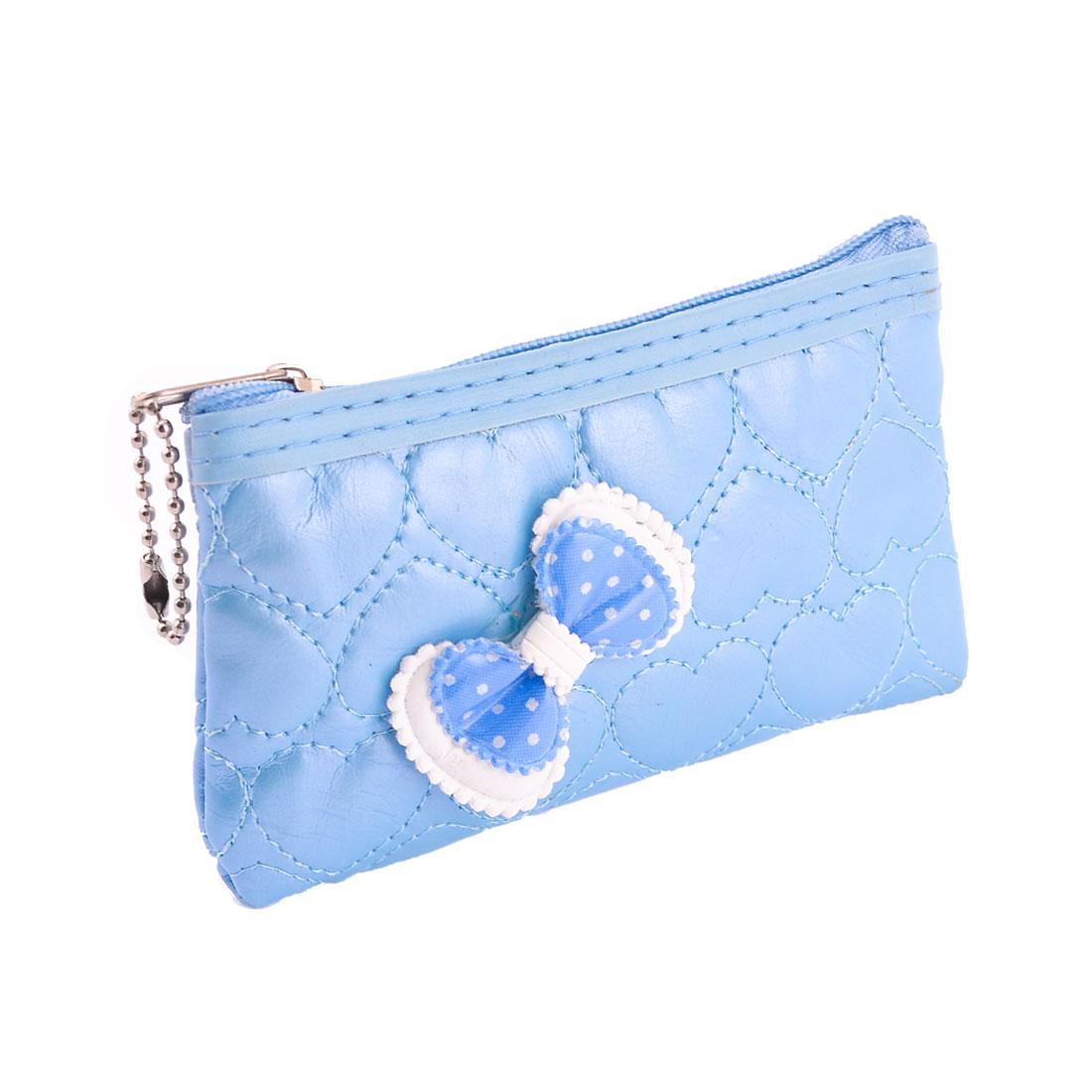 Light Blue Bowknot Decor Zipper Closure Change Coins Purse Pouch for Women