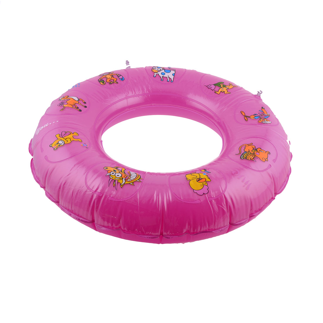 Fuchsia Round Animal Print PVC Inflatable Swim Ring for Children