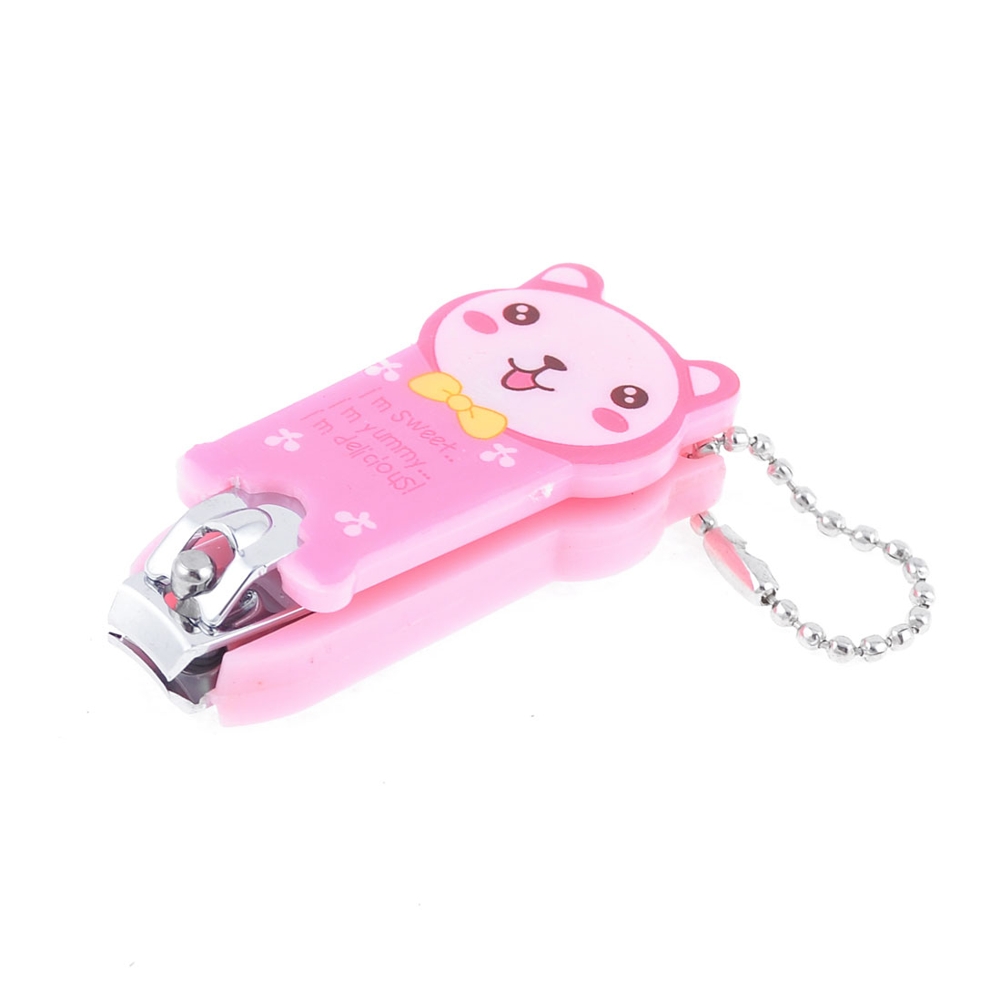 1cm Wide Mouth Key Ring Pink Plastic Cartoon Bear Shape Nail Clipper Tool