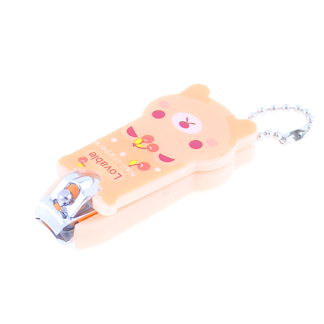 1cm Key Ring Pale Apricot Plastic Cartoon Bear Shape Nail Clipper Tool