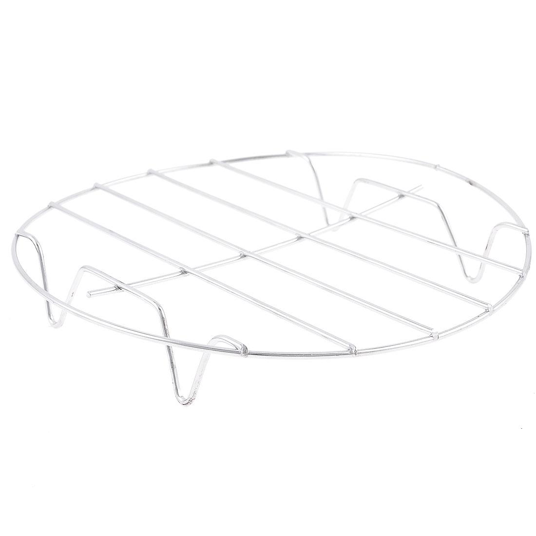 "Kitchen Cookware 4 Legs Stainless Steel Round Steaming Rack 6.9"" Diameter"