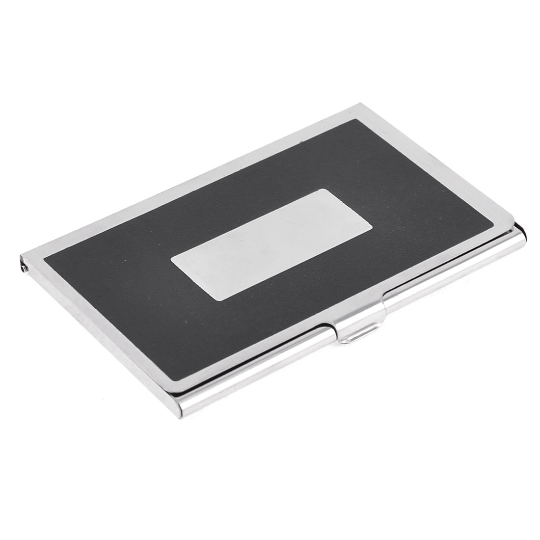 Polished Sliver Tone Black Rectangle Aluminum Alloy Business Card Holder