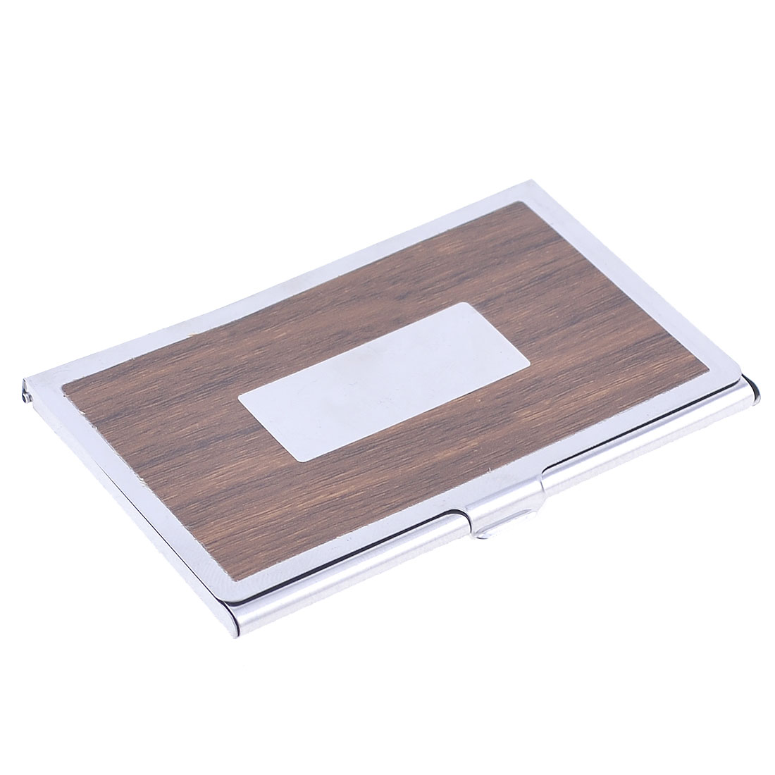 Polished Sliver Tone Brown Wood Grain Pattern Business Card Holder