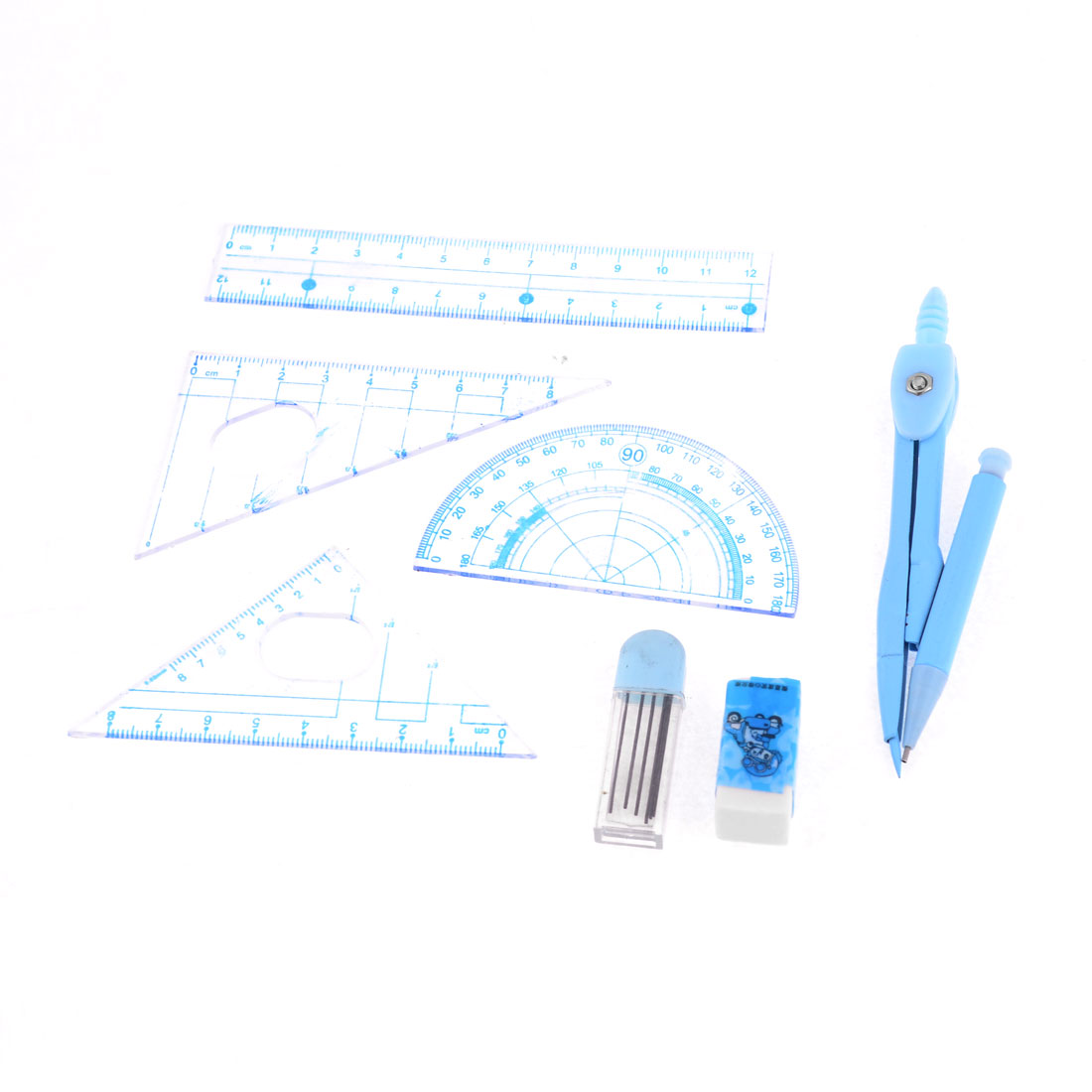 Clear Blue Students Ruler Pencil Lead Divider Eraser 7 in 1 Geometric Tool Set