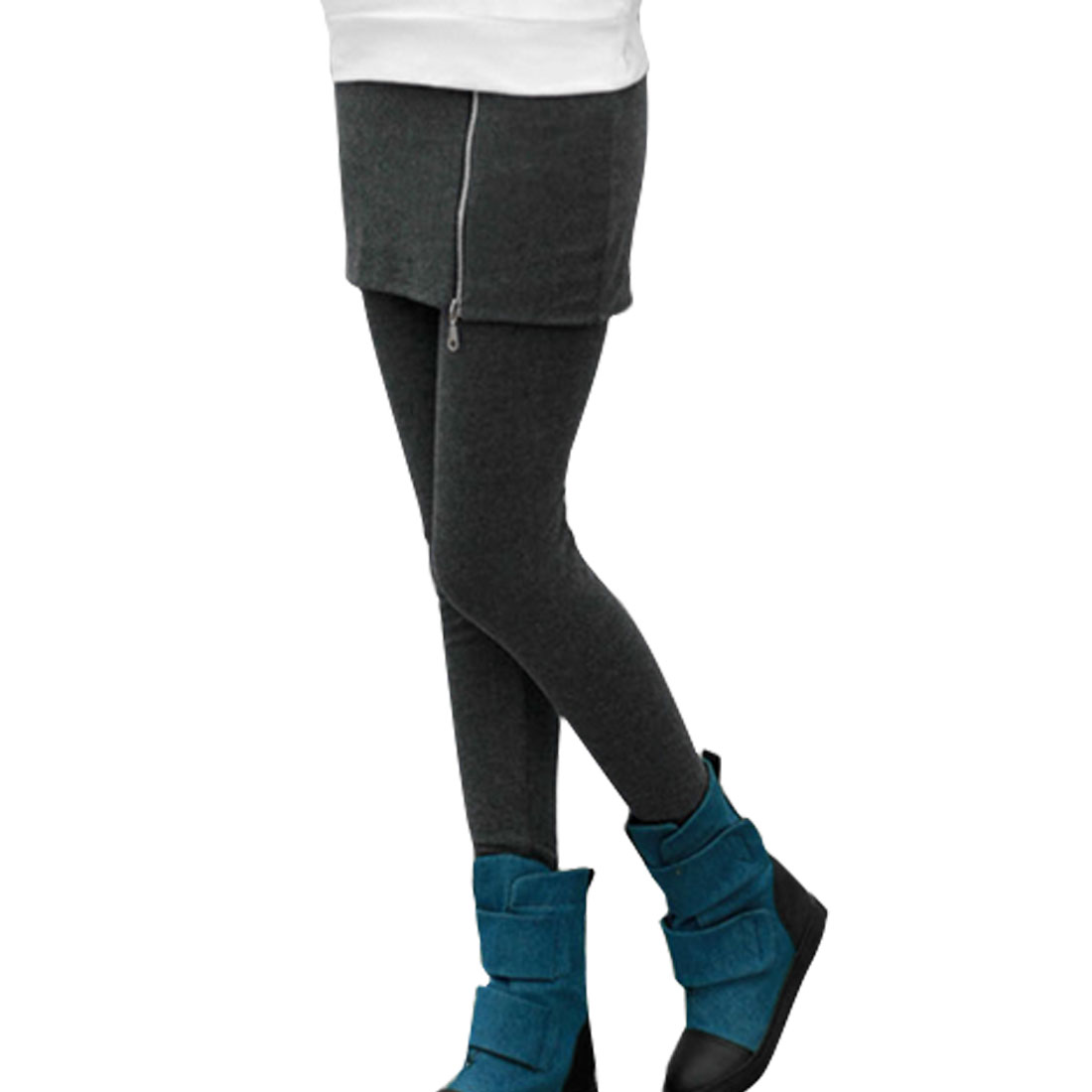 Mid Rise Hip Hugging Fashional Skirt Leggings Gray XS for Ladies