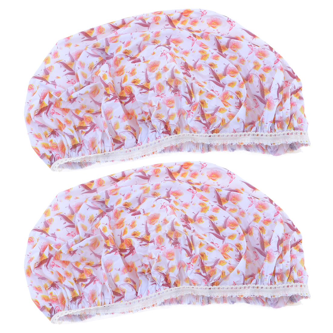 Lady Burgundy White Flower Pattern Waterproof Elastic Bathing Shower Cap Hat 2 Pcs