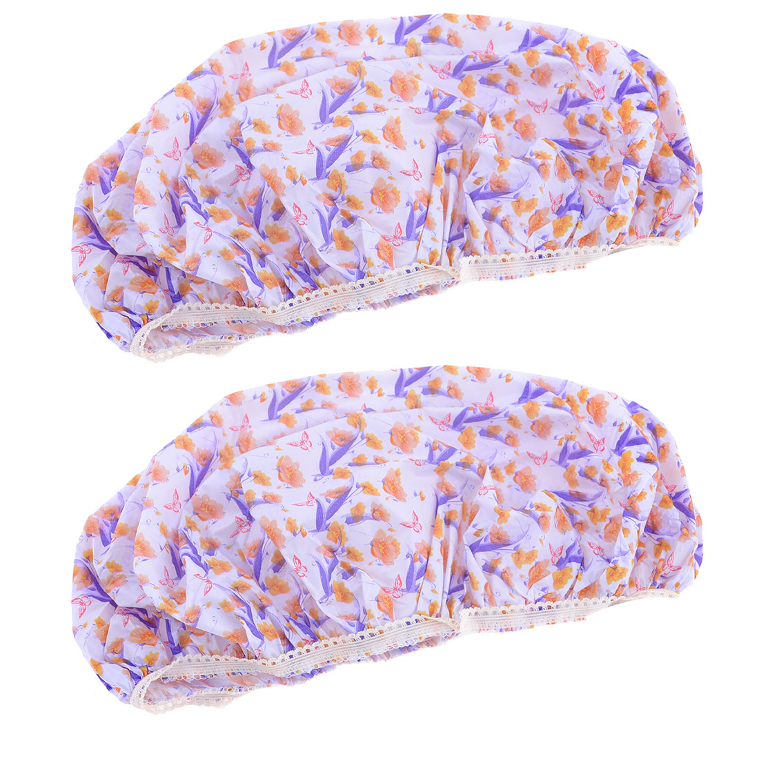 Lady Purple White Flower Pattern Waterproof Wlastic Bathing Shower Cap Hat 2 Pcs