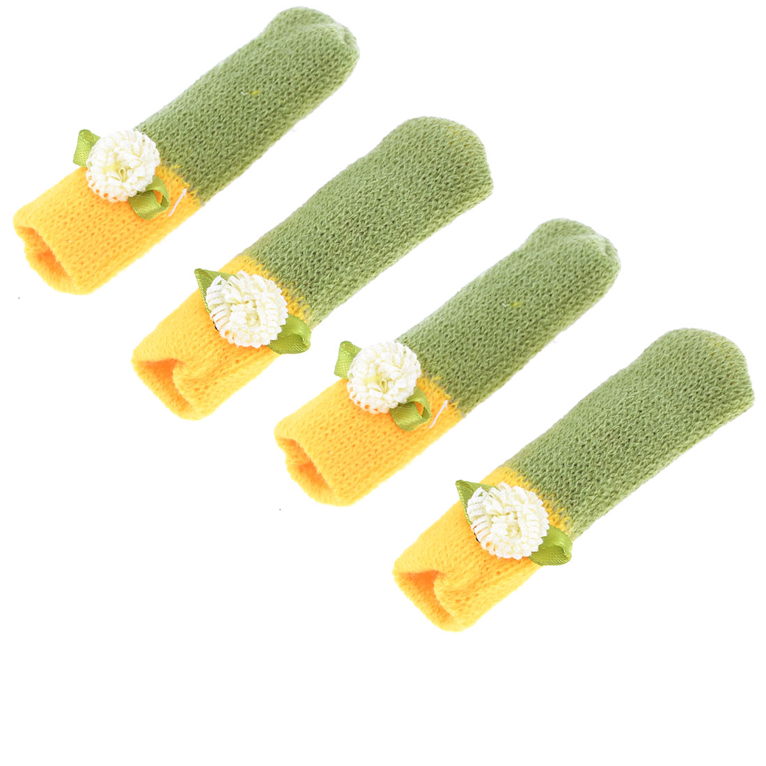 4pcs Flower Decor Yellow Green Knitting Chair Leg Cover Protector Sock Pads