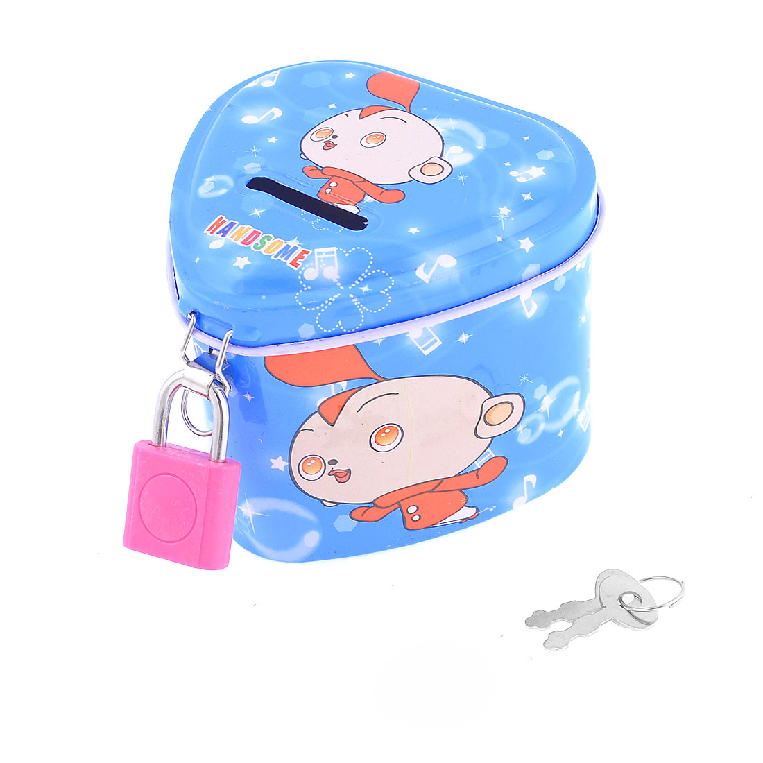 Children Heart Shaped Cartoon Kid Print Piggy Bank Money Saving Box Blue