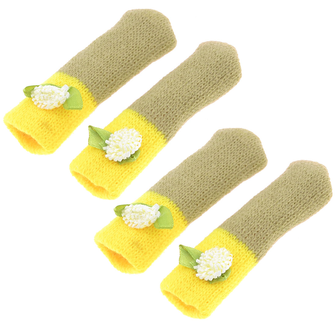 4pcs Flower Decor Yellow Olive Green Knitting Chair Leg Cover Protector Sock Pads