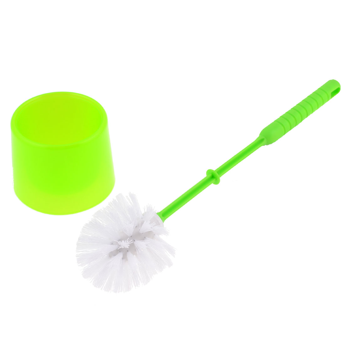 Green Plastic Handle Round Bristle Head Kitchen Toilet Cleaning Scrubbing Brush