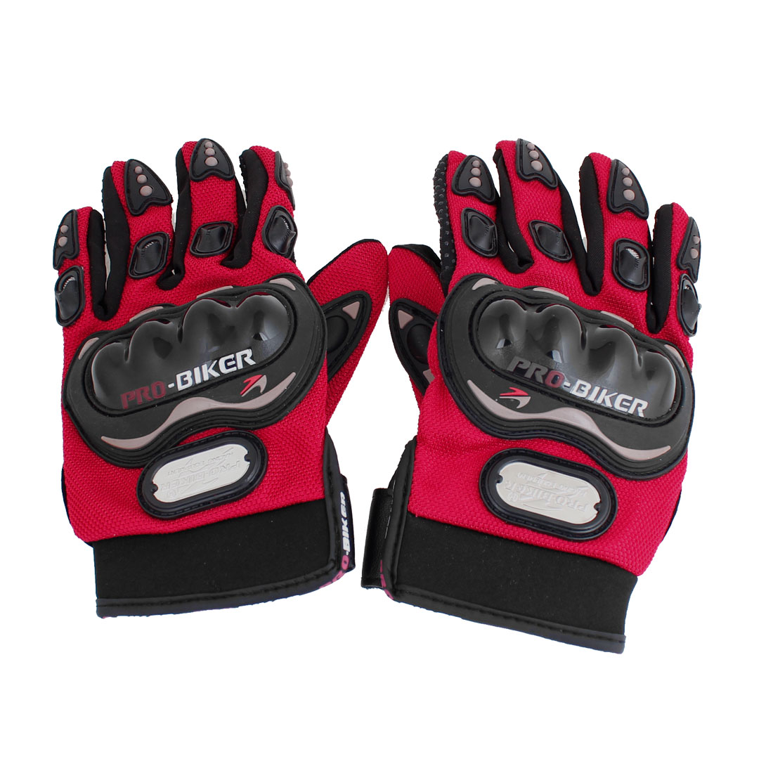 2 Pcs Nonslip Palm Hook Loop Driving Full Finger Sports Gloves Black Red Size XL for Man