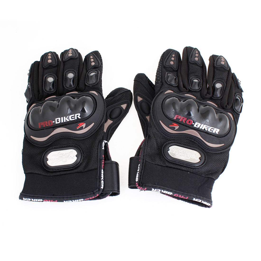 2pcs Motorcycle Nonslip Design Palm Driving Full Finger Sports Gloves Black Size L