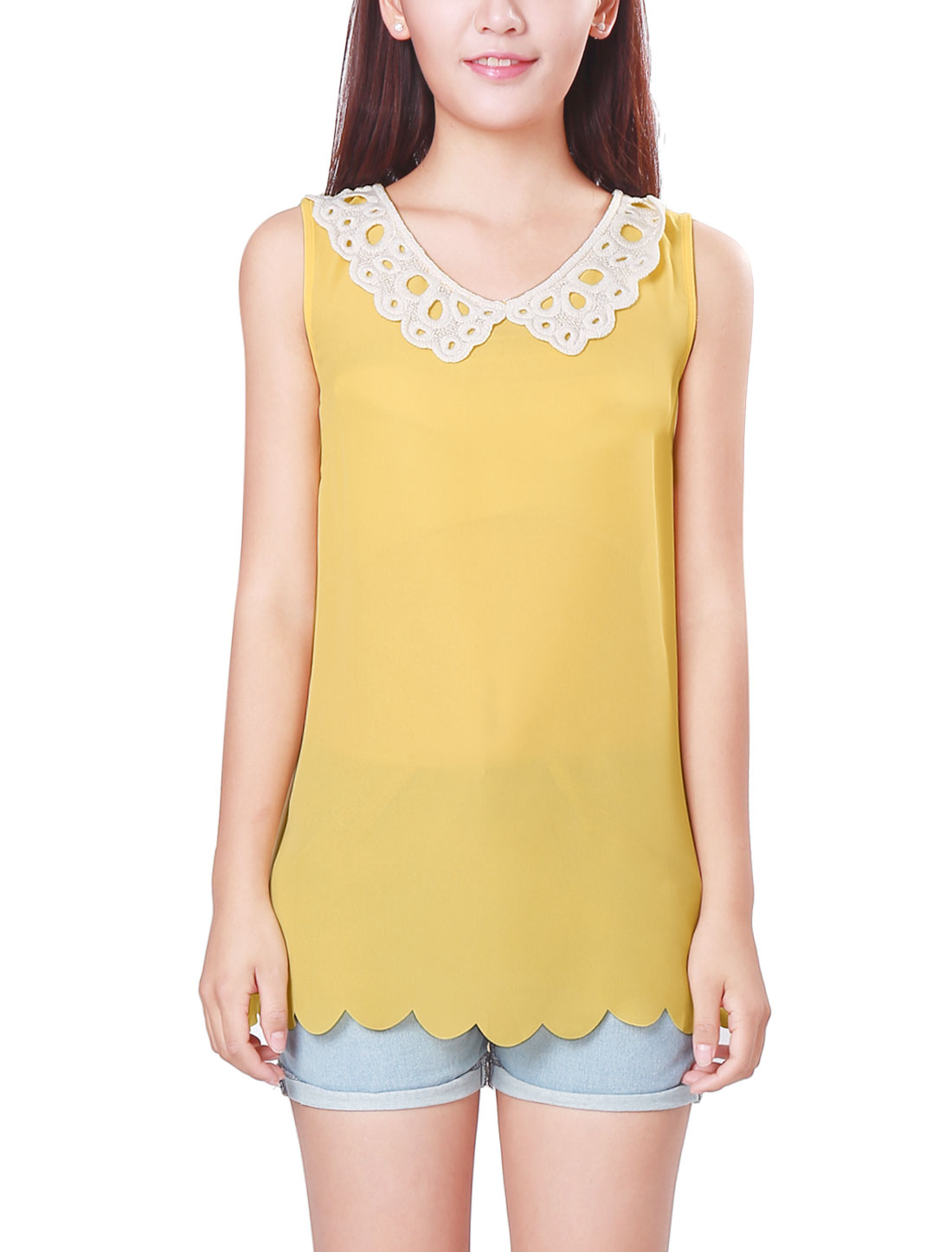 Ladies Crochet Peter Pan Collar Sleeveless Yellow Casual Tops XS