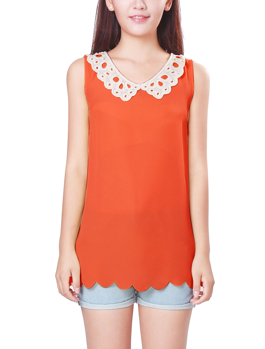 Women Stylish Watermelon Red Scalloped Hem Design Tank Tops M
