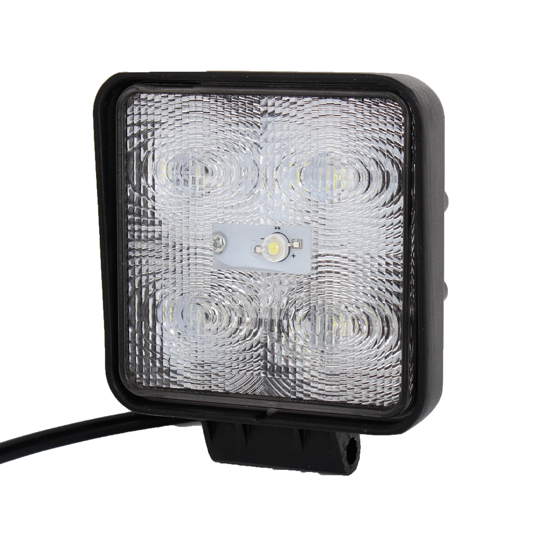 Square 15W White 5 LED Flood Beam Work Light Driving Lamp Offroad SUV ATV