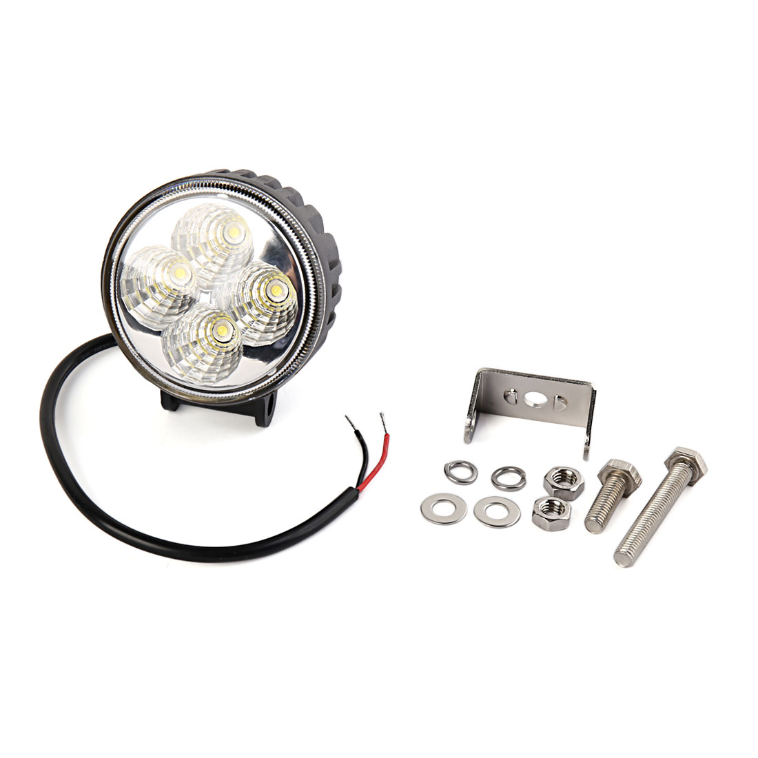 Round 12W White 4 LED Flood Beam Work light Driving Lamp Offroad SUV ATV DC 12V