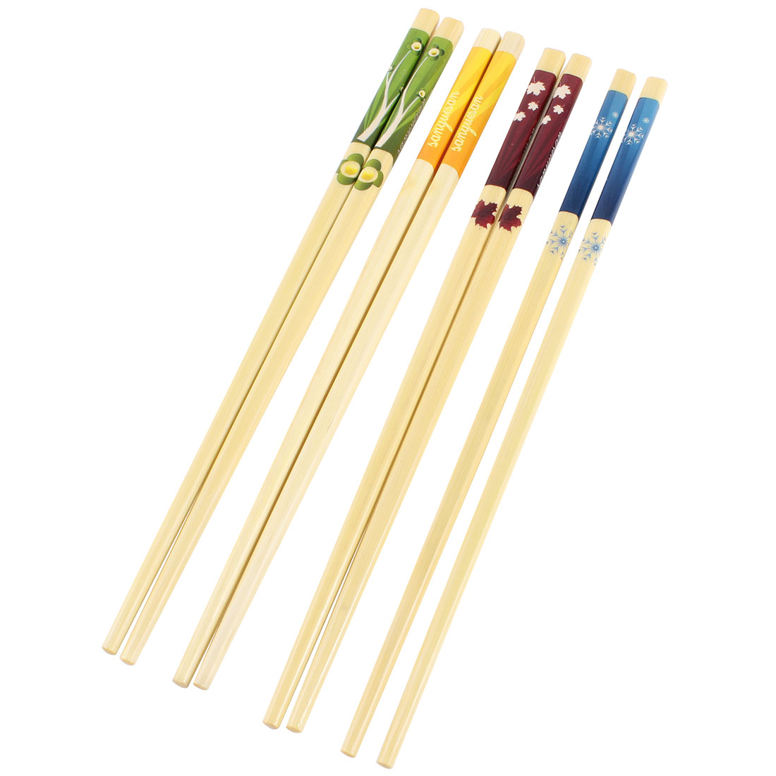 4 Pairs Handy Colorful Flower Pattern Chinese Wood Chopsticks Wooden Color