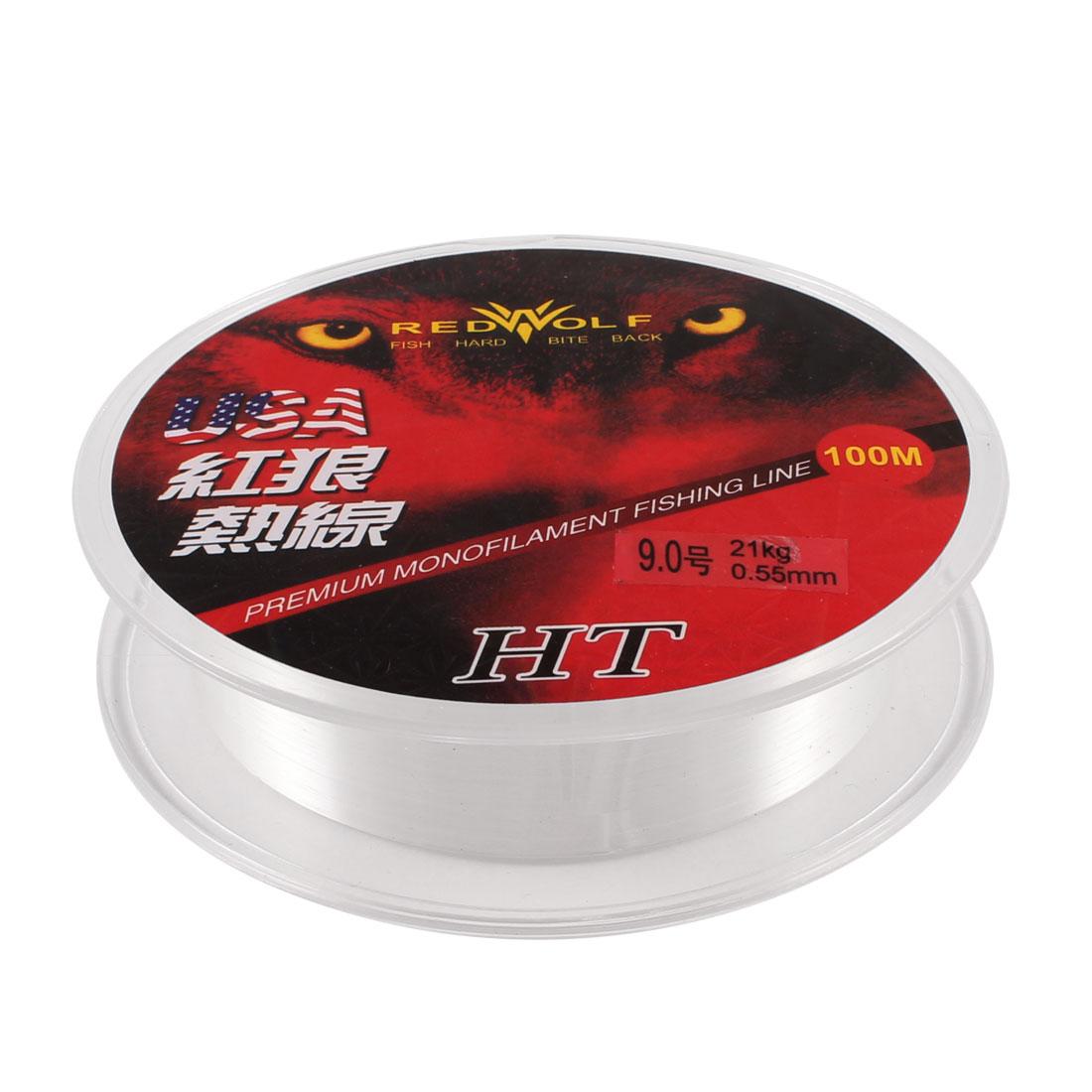 100M Thread 21Kg 0.55mm Dia White Nylon Fishing Spool Line 9#