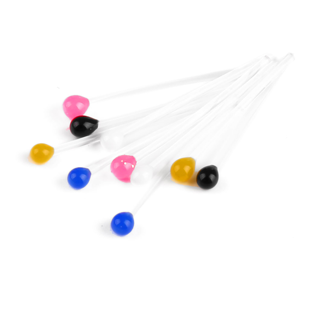 10 x 10 Packs Colorful Ball Head Plastic Ear Studs Earrings for Ladies
