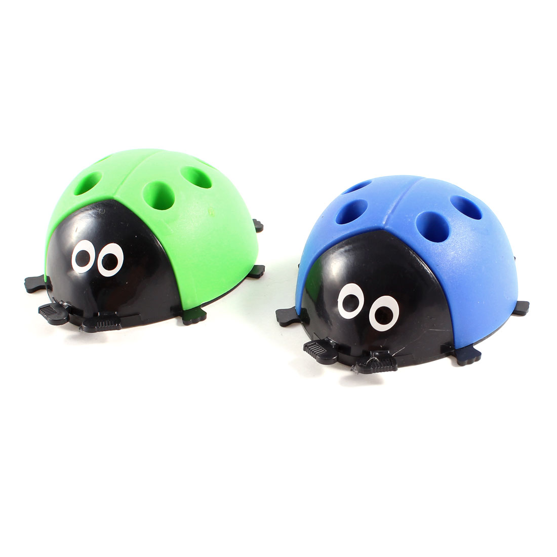 2 Pcs Double Use Plastic Ladybug Sharpener Pencil Holder Green Blue