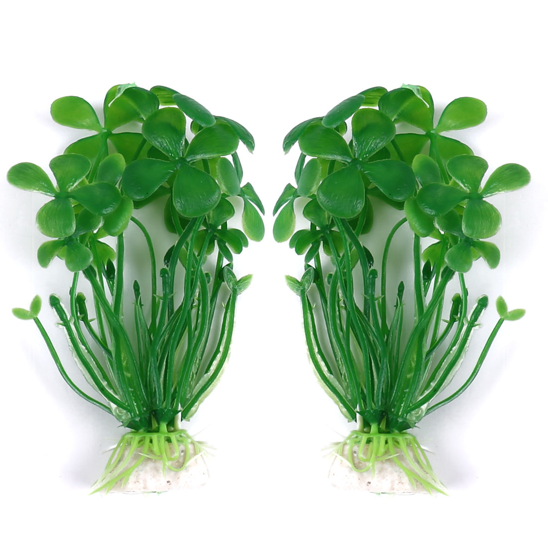 "2 Pcs Aquarium Tank 3.9"" Height Green Plastic Aquatic Plant Grass"