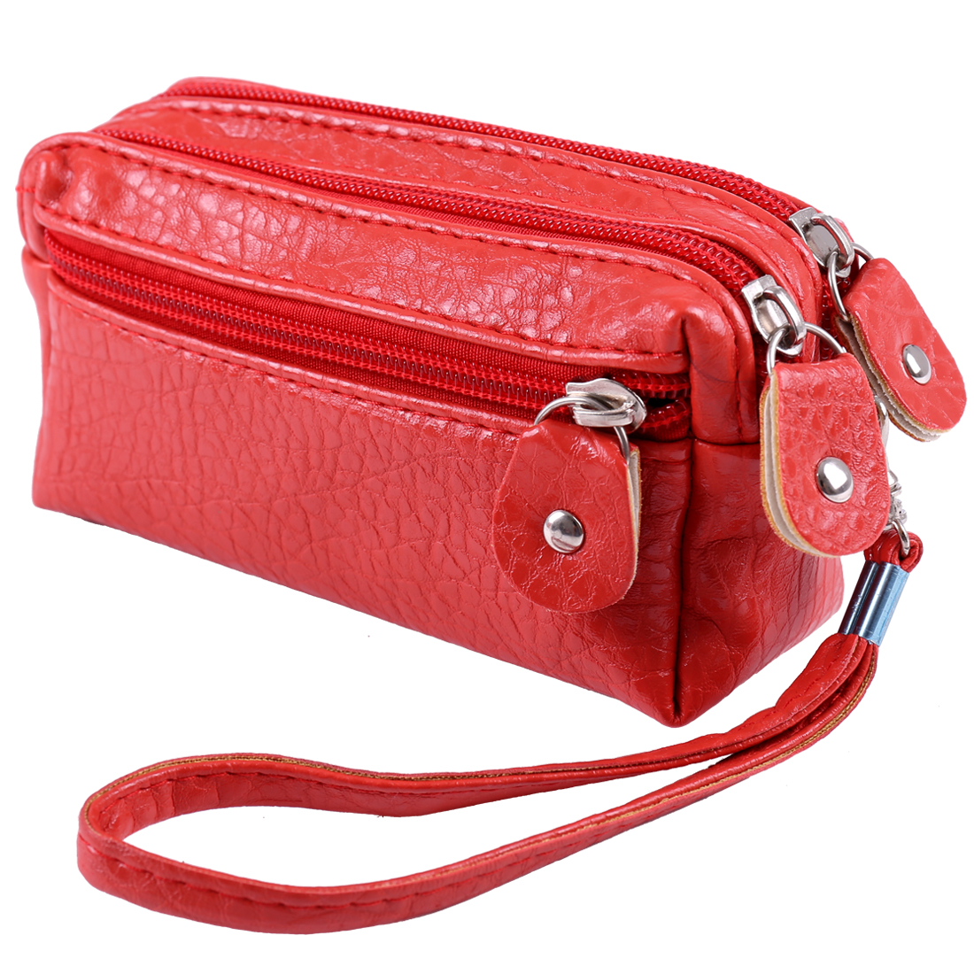 Ladies Girls Crocodile Pattern Zip Up Purse Removable Wristlet Wallet Red